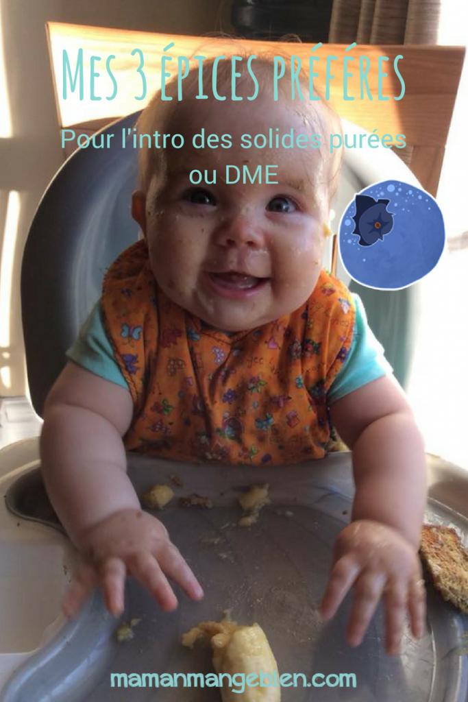 Il n'y a pas de mal à assaisonner les aliments pour bébé lors de l'introduction des solides purées ou DME. 3 épices adorées par les bébé